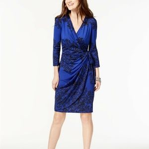 INC Printed Faux-Wrap Dress Palace Scroll Blue XS